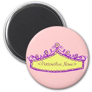 Princess Tiara Yellow Crown Custom Name Magnet