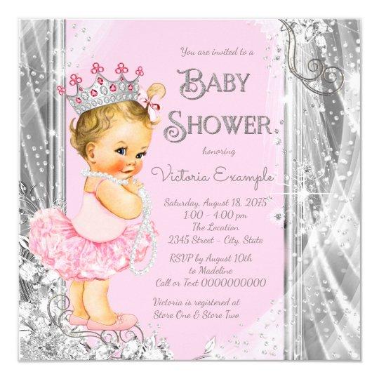 Princess Tutu Pink Silver Baby Shower Card