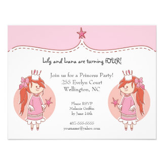 Princess Twins Birthday Party Invitations Invites