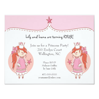 Princess Twins Birthday Party Invitations
