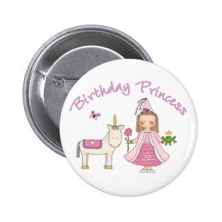 Princess Unicorn Birthday Girl 2 Inch Round Button