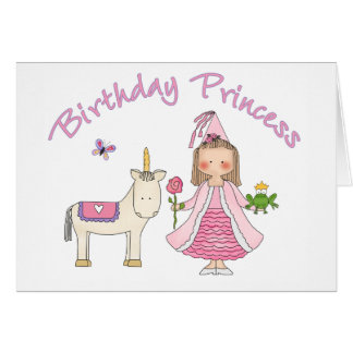 Princess Unicorn Birthday Girl Note Card