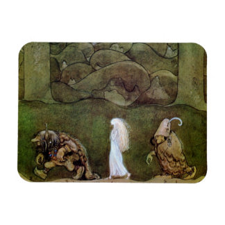 Princess Walking with Trolls Through Forest Rectangular Photo Magnet
