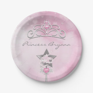Princess Wand & Crown Silver Pink Party Plates 7 Inch Paper Plate