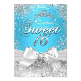 Princess Winter Wonderland Blue Sweet 16 Invite