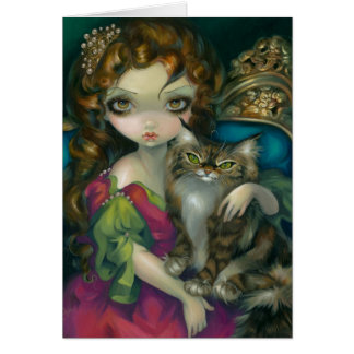 """Princess with a Maine Coon Cat"" Greeting Card"