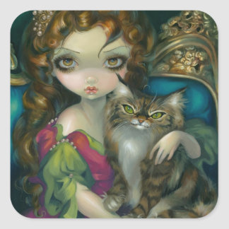 """""""Princess with a Maine Coon Cat"""" Sticker"""