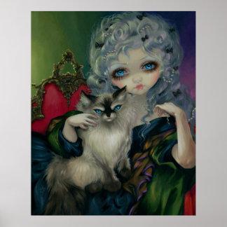 Princess with a Ragdoll Cat ART PRINT rococo