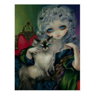 """Princess with a Ragdoll Cat"" Postcard"