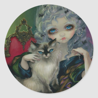 """Princess with a Ragdoll Cat"" Sticker"