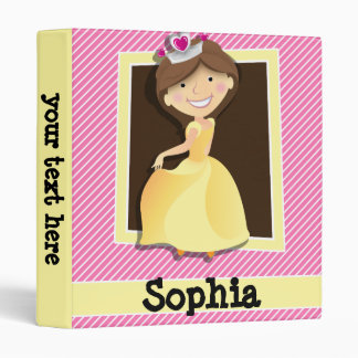 Princess, Yellow Dress; Pink & White Stripes Binder