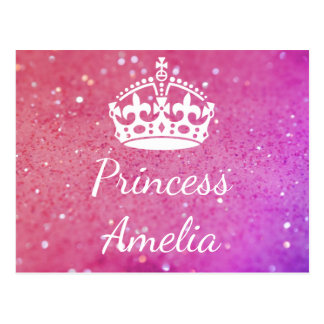 Princess (Your Name) Crown Pink Bokeh Postcard