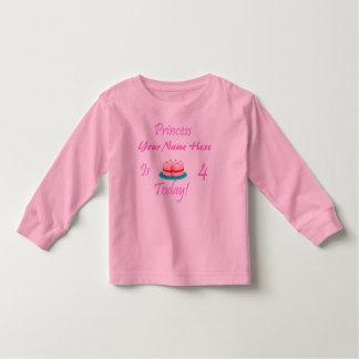 Princess (Your Name) is 4 Today Toddler T-shirt