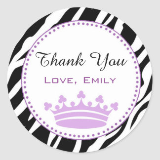 Princess Zebra Gift Favor Label Sticker Purple