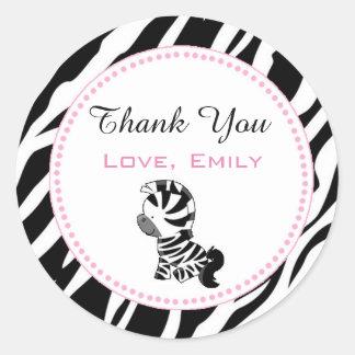 Princess Zebra Gift Favour Label Sticker Pink