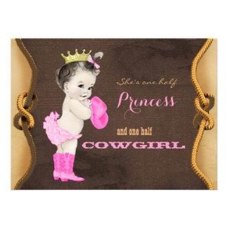 Princesse baby shower de cow-girl invitations personnalisées