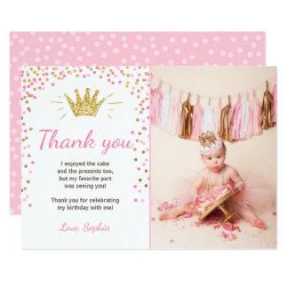Princesse Birthday Gold Pink de carte de Carton D'invitation 12,7 Cm X 17,78 Cm