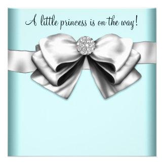 Princesse bleue turquoise noire baby shower cartons d'invitation