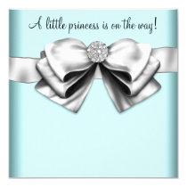 Princesse bleue turquoise noire baby shower carton d'invitation  13,33 cm