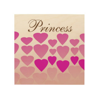 """Princesse de coeur 8"""""""" art en bois du mur x8"""