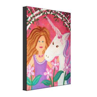 Princesse de licorne - le cheval 16x20 badine toile tendue