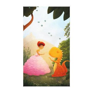 Princesse Dinosaur Fairytale Art paire parfaite Toiles Tendues