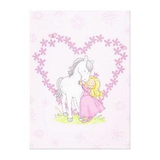 Princesse et cheval toiles tendues sur châssis