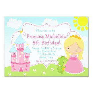 Princesse et fête d'anniversaire mignonnes blondes carton d'invitation  12,7 cm x 17,78 cm