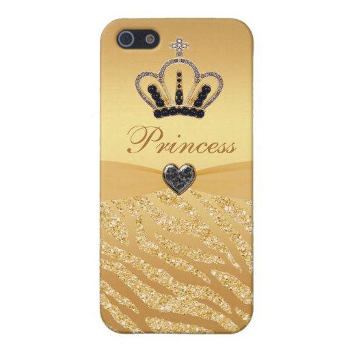 Princesse imprimée Crown et scintillement de zèbre Coque iPhone 5