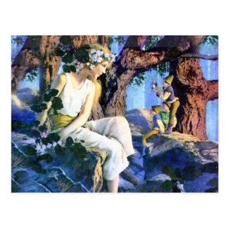 Princesse juste de Maxfield Parrish et les gnomes Carte Postale