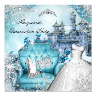 Princesse magique Blue de mascarade de Quinceanera Invitations Personnalisées