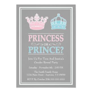Princesse ou prince Gender Reveal Party Carton D'invitation 12,7 Cm X 17,78 Cm