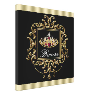 Princesse rouge royale élégante de diadème de noir toile tendue