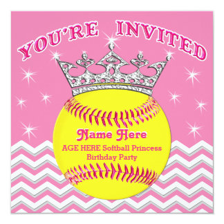 Princesse Softball Birthday Invitations du