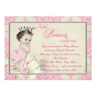 Princesse vintage baby shower de damassé rose carton d'invitation  13,97 cm x 19,05 cm