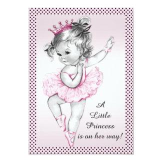 Princesse vintage mignonne baby shower de carton d'invitation  12,7 cm x 17,78 cm