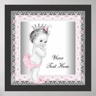 Princesse vintage rose de bébé poster