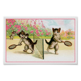 Print: Badminton Kittens Vintage Art Poster