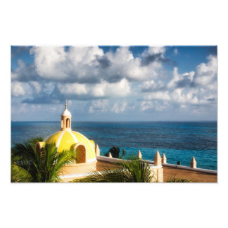 Print - Cancun Yellow Dome after Sunrise - Mexico Photograph