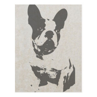 print French bulldog in vintage texture Postcard