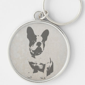 print French bulldog in vintage texture Silver-Colored Round Keychain