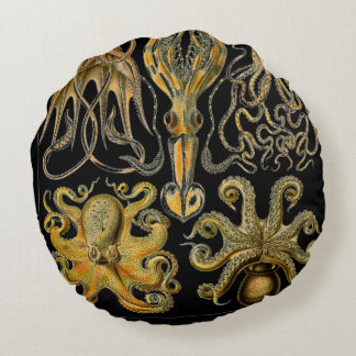 Print Octopus & Squid Art Round Pillow