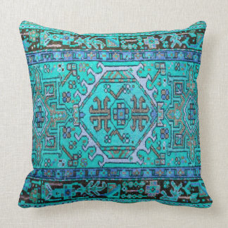 Print of Antique Oriental Carpet in Stunning Blues Throw Pillow