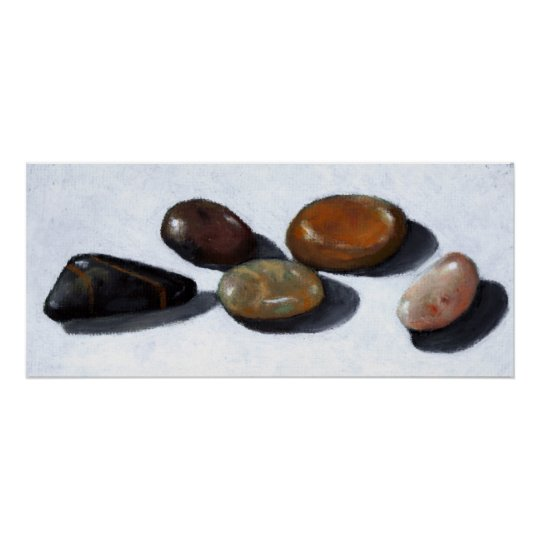 PRINT OF ORIGINAL OIL PASTEL: RIVER ROCKS