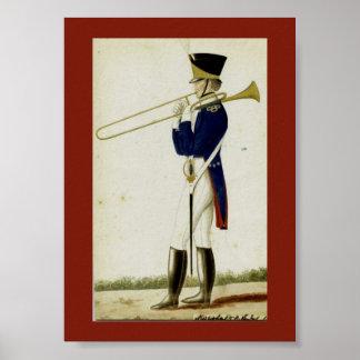 Print of Rare 1824 Belgian Rear-Facing Trombone