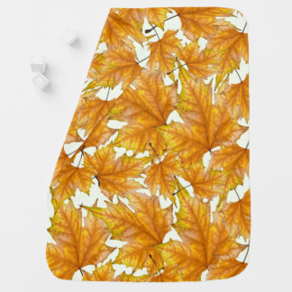 Print of yellow and gold maple leaves stroller blanket