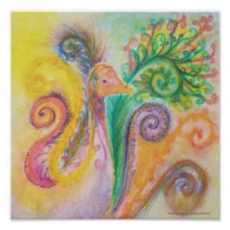 Print or Poster of Soft Colourful Bird Design