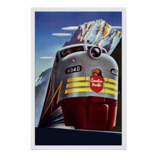 Print Retro Vintage Image Travel Train Canada