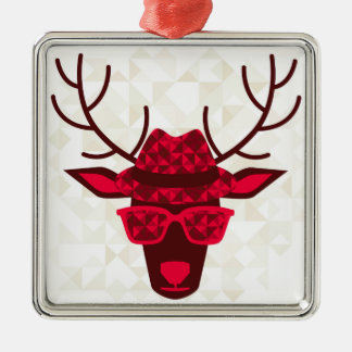 Print With Deer In Hipster Style Silver-Colored Square Ornament