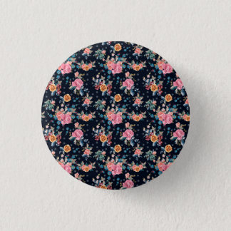 Print with roses in vintage pretty style 1 inch round button